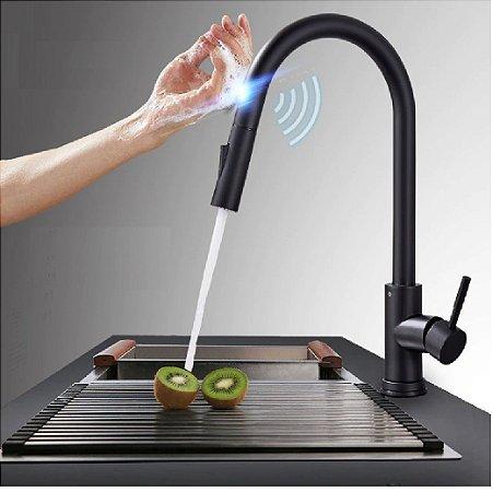 Torneira de Cozinha Monocomando Extensível Flexível Com Sensor