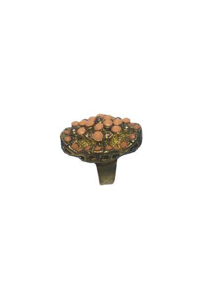 Anel Dourado Ajustavel  c/ Pedras Strass Rosada