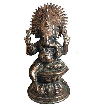 Imagem de SARASWATI em ferro fundido com 25cm bronze