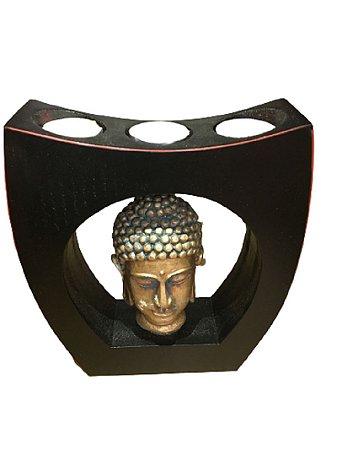Porta Vela Rechaud quadrado com imagem de buda