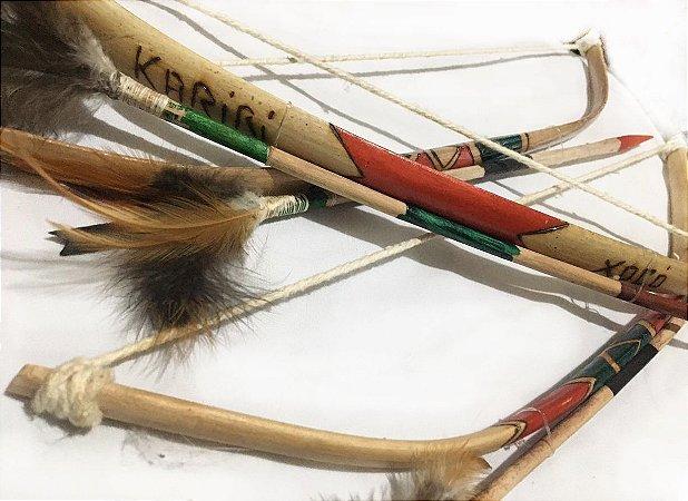 Arco e Flecha  Indígena 45cm Tribo Caboclo Artesanato
