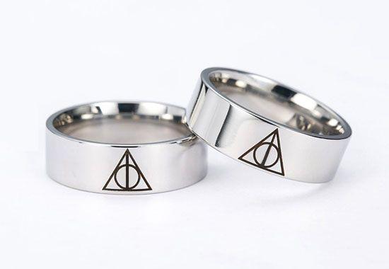 Par de Alianças Harry Potter Relíquias da Morte
