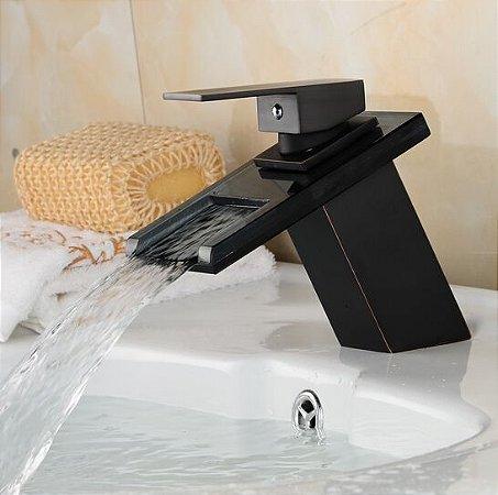 Torneira Lavabo Banheiro Monocomando Black Preta Siena