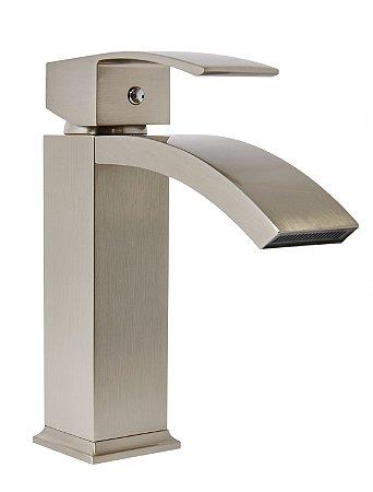 Torneira lavabo banheiro bica baixa Madrid aço escovado