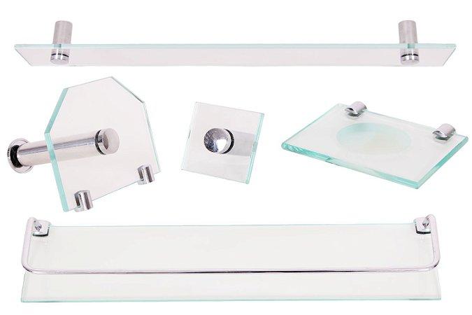 Kit Acessórios Banheiro Vidro 5 peças