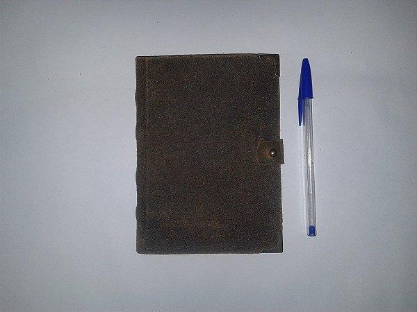Caderno retrô capa couro marrom ferrugem