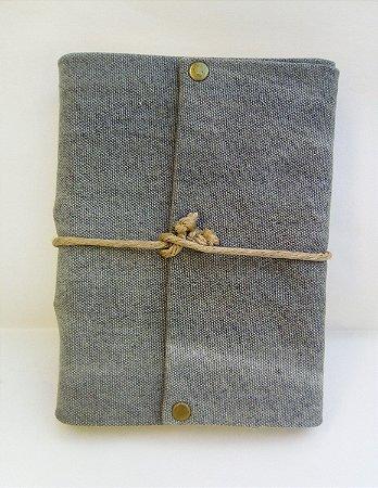 Diário de Viagem lona estonada cinza (papel pólen)