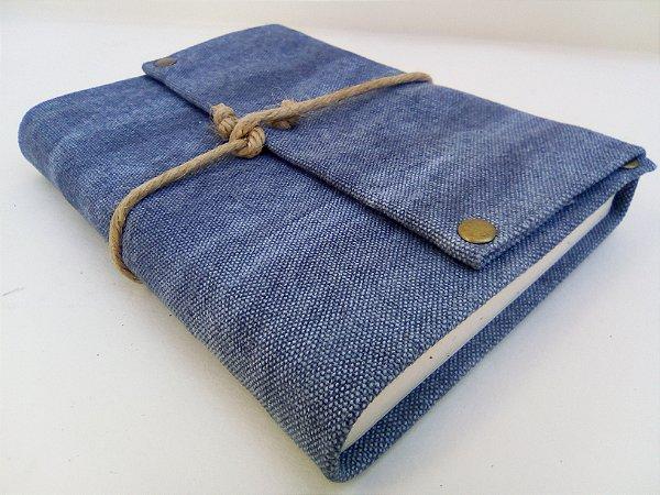 Diário de Viagem lona estonada azul (papel pólen)
