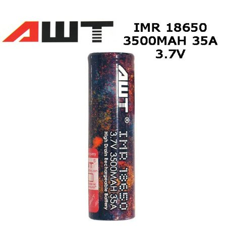 Bateria 18650 Li-Mn IMR 18650 AWT 3.7V 3500mAh High Drain 35A Flat Top - AWT®