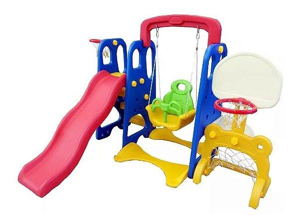 Playground 5x1 Escorregador, Balanço , Gol e 2 Cesta de basquete