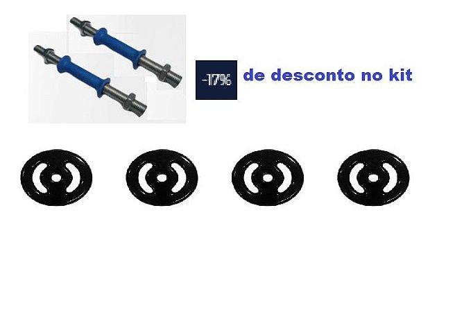 Kit 24kg emborrachado + Par de Barra de musculação biceps/triceps de rosca 33cm e pegada emborrachada azul