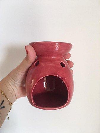 Difusor de óleo essencial à vela - Cerâmica rosado
