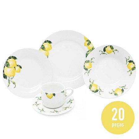 Aparelho de Jantar 20 Peças Porcelana - Limão Siciliano