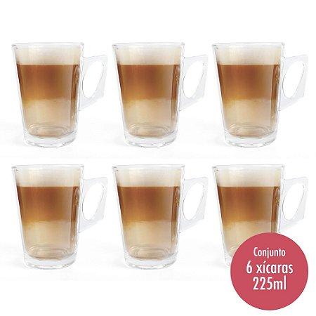 Conjunto 6 Xícaras de Vidro para Café e Cappuccino - 225ml