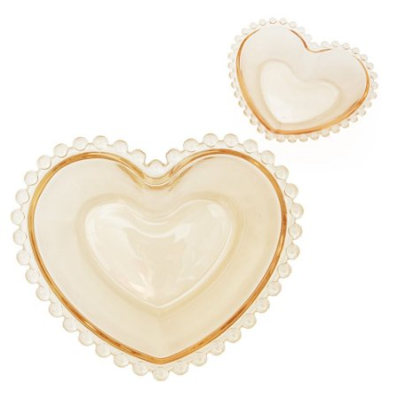 Conjunto 2 Bowls Coração Cristal Pearl 15cm - Ambar