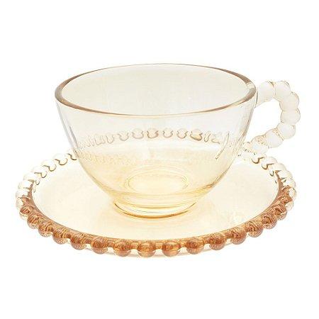 Conjunto 4 Xícaras de chá Cristal Pearl 180ml c/ Pires - Ambar