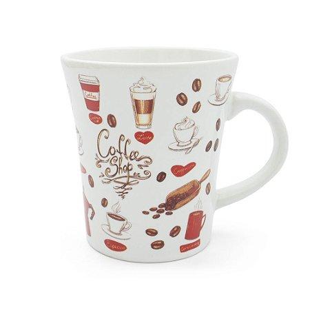 Caneca em Cerâmica Estampada 300ml - Coffee Shop