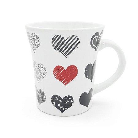 Caneca em Cerâmica Estampada 300ml - Hearts