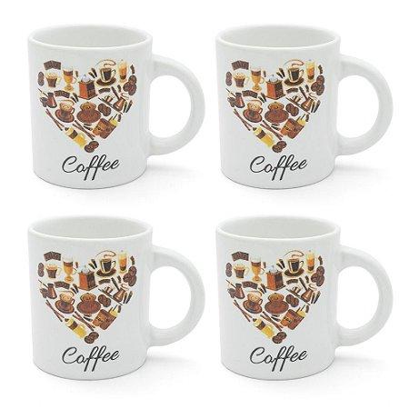 Conjunto 4 Xícaras em Cerâmica 85ml - Love Coffee