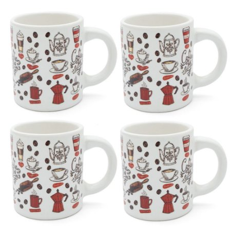 Conjunto 4 Xícaras em Cerâmica 85ml - Coffee Shop