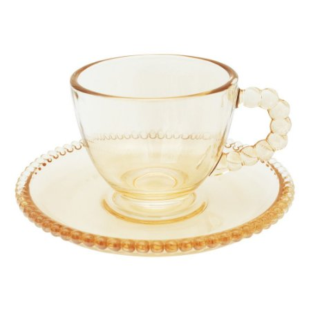 Conjunto 4 Xícaras de café Cristal Pearl 80ml c/ Pires - Ambar
