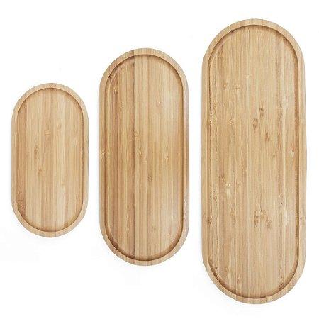 Kit com 3 Bandejas em Bambu