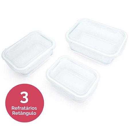 Conjunto 3 Refratários em Vidro Borosilicato - Retângulo