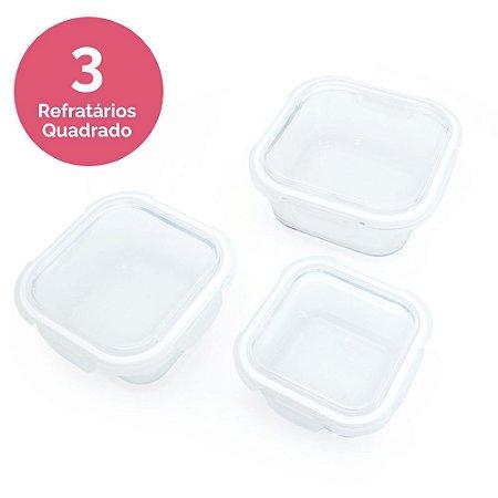 Conjunto 3 Refratários em Vidro Borosilicato - Quadrado