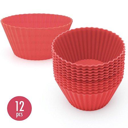 Kit com 12 Mini Formas de Silicone para Cupcake e Bolos