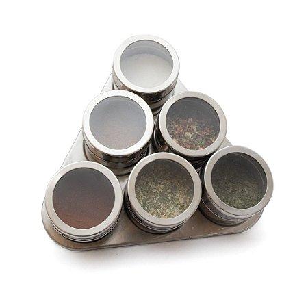 Kit com 6 Porta Temperos Magnético e Suporte em Aço Inox