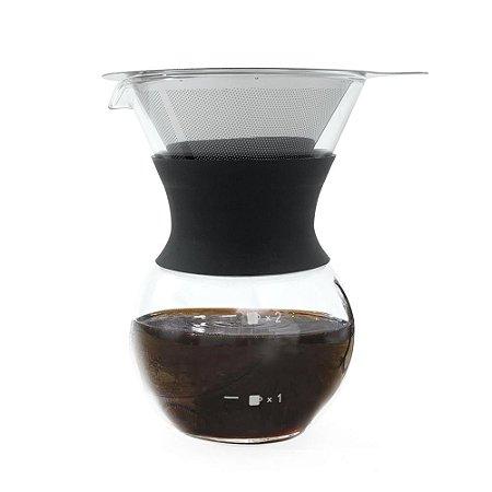 Cafeteira de Vidro com Filtro Coador em Inox - 200ml