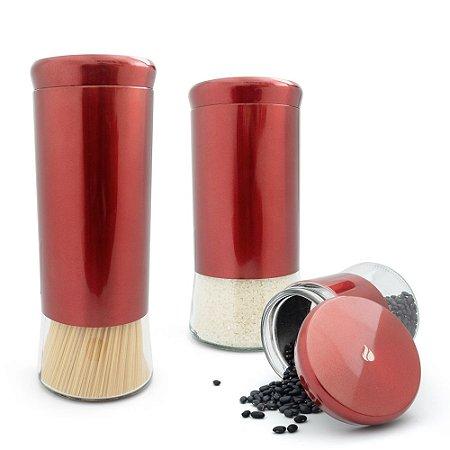 Conjunto 3 Potes Herméticos em Inox e Vidro - Vermelho