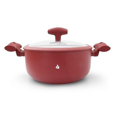Panela Caçarola Revestimento Cerâmica Hot and Cold - Vermelha 5L