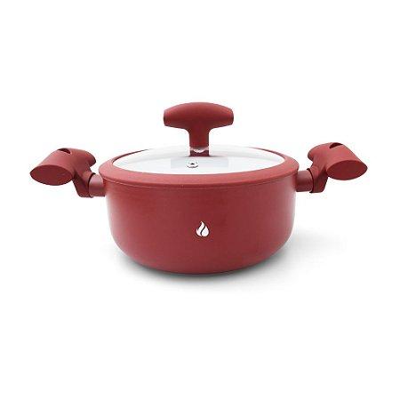 Panela Caçarola Revestimento Cerâmica Hot and Cold - Vermelha 2,5L