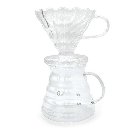 Jarra e Suporte para Coador de Café em Vidro - 600ml