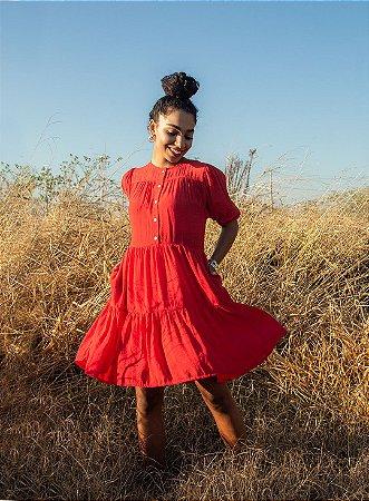Vestido Feminino Camadas Vermelho Manga Curta