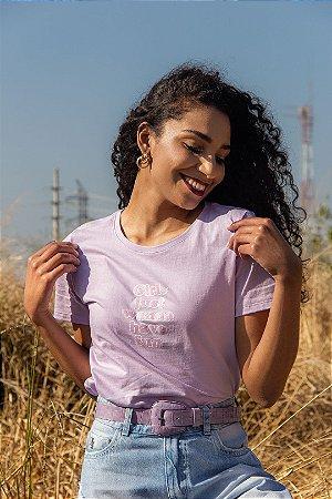 T-shirt Feminina Manga Curta Lilás