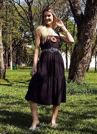 Vestido Midi Feminino Hoje Collection Preto