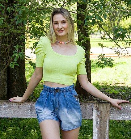 Blusa Cropped Feminino Verde Limão