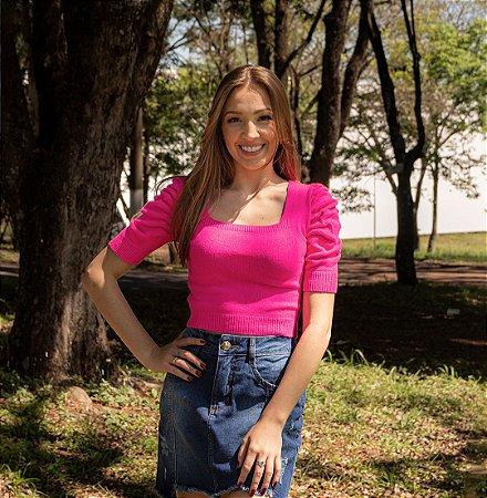 Blusa Cropped Feminino Rosa Pink