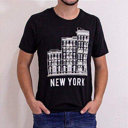 Camiseta Masculina Manga Curta Cor Preta