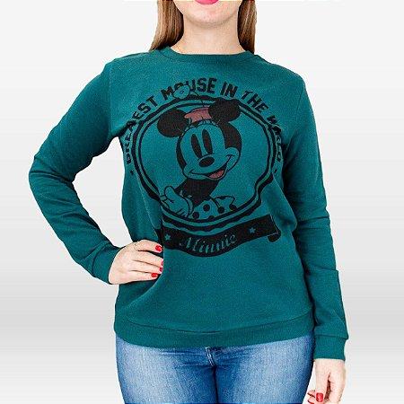 Blusão de Moletom Feminino Verde Disney Cativa