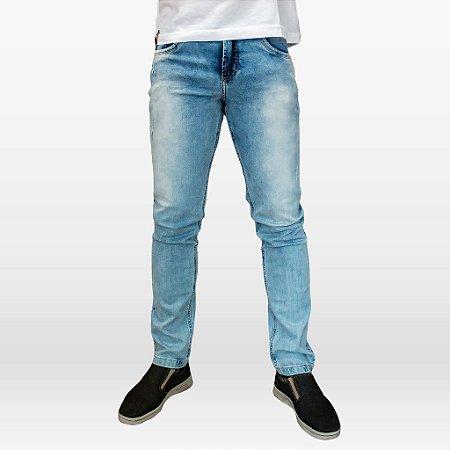 Calça Jeans Claro Masculina com Elastano e Puídos