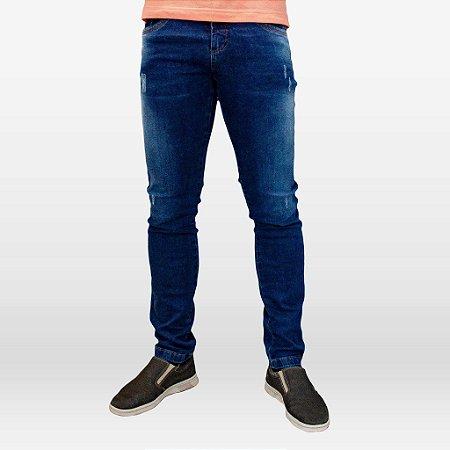 Calça Jeans Escuro Masculina com Elastano e Puídos Marca Hoje