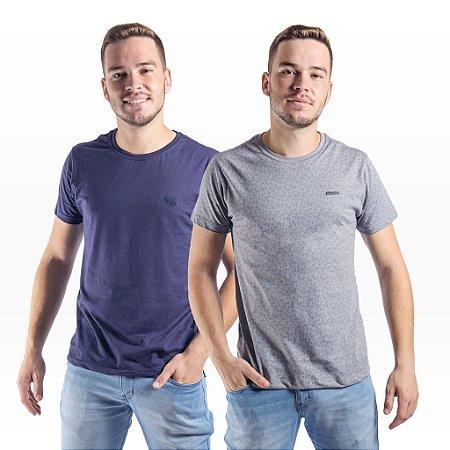 Combo 2 Camisetas Masculinas Algodão Manga Curta Gajang (1 estampada e 1 lisa)