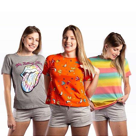Kit 3 T-shirts Femininas