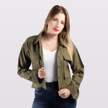 Jaqueta Verde Militar Feminina