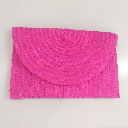 Carteira de Mão em Palha - Pink
