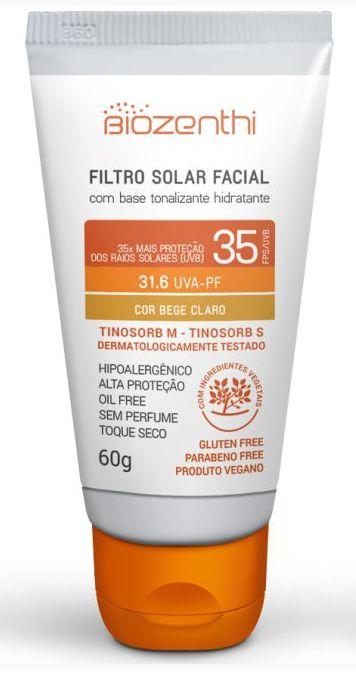 Protetor Solar Vegano com base tonalizante FPS 35 - Bege Claro - Biozenthi