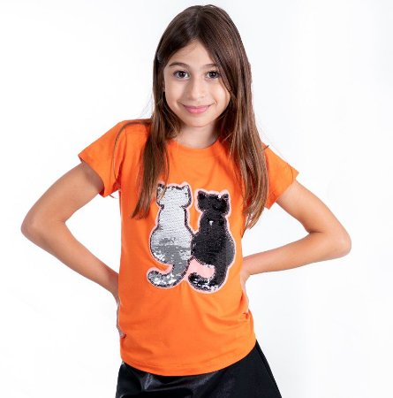 T-Shirt gatinhos preto e prata